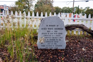 Grace Sherwood's commemoration marker at Old Donation Church.