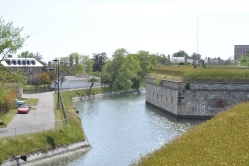 Fort Monroe's Southeastern wall and moat