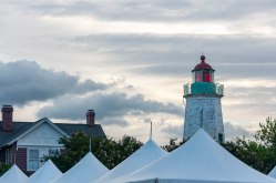 Old Point Comfort Lighthouse overlooking tents at the 400th Commemoration Ceremony.