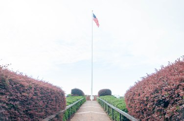 The American Flag overlooking Fort Monroe and Hampton Roads
