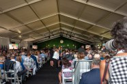The Tent crowd awaits the day's final session