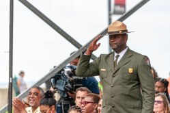 Fort Monroe NPS Superintendent Terry Brown being honored for his service