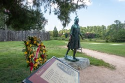 The famous Pocahontas statue at Jamestown Island with a wreath placed by the Jamestown Society