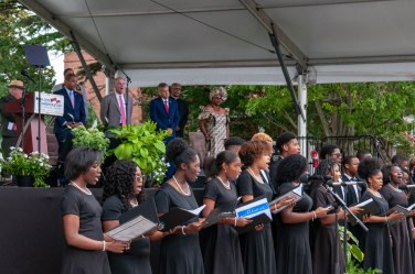 "I.C. Norcom HS Choir performing ""Lift Every Voice and Sing"" to close out the ceremony"