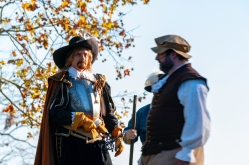 Reenactors portraying English North America's First Thanksgiving.