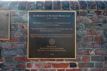 Richard Henry Lee marker at Burnt House Field.