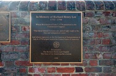 Richard Henry Lee marker at Burnt House Field.