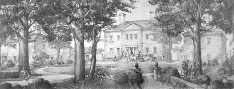 Artist depiction of Mansfield, not the simliarities to the Tayloe's Mount Airy